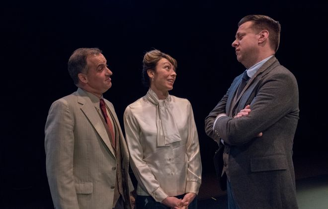 "Jon May, left, appears with Kate LoConti and Eric Rawski in ""The Constant Wife"" at the Irish Classical Theatre Company."