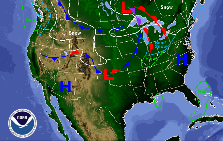A passing warm front will bring warmer temperatures to the Buffalo Niagara region Wednesday, but it'll turn much colder toward the end of the week. (National Weather Service)
