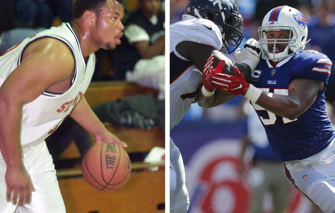 Bills linebacker Lorzeno Alexander playing basketball in high school, left, and rushing the quarterback against the Denver Broncos. (Mike Kepka/San Francisco Chronicle; Mark Mulville/Buffalo News)