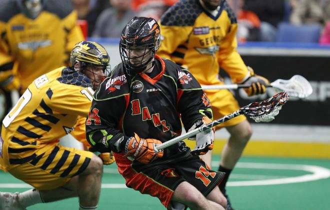 Buffalo Bandits' Pat Saunders moves the ball against the Georgia Swarm during first half action at the KeyBank Center on Saturday, April 22, 2017. (Harry Scull Jr./Buffalo News)