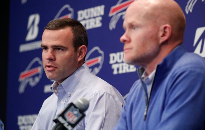 Bills General Manager Brandon Beane, left, and coach Sean McDermott will be under pressure to win in 2019. (Mark Mulville/Buffalo News)