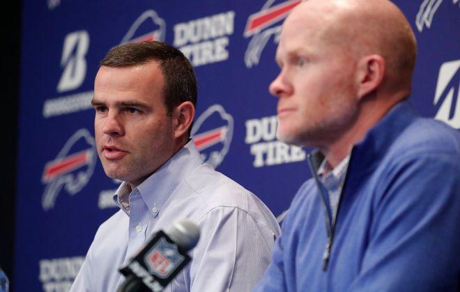Bills General Manager Brandon Beane, left, and coach Sean McDermott. (Mark Mulville/Buffalo News)