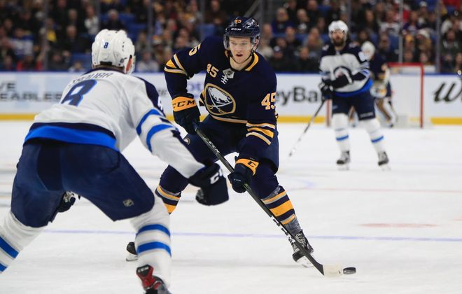 Brendan Guhle had a plus-1 rating in two games with the Buffalo Sabres. (Harry Scull Jr./Buffalo News)