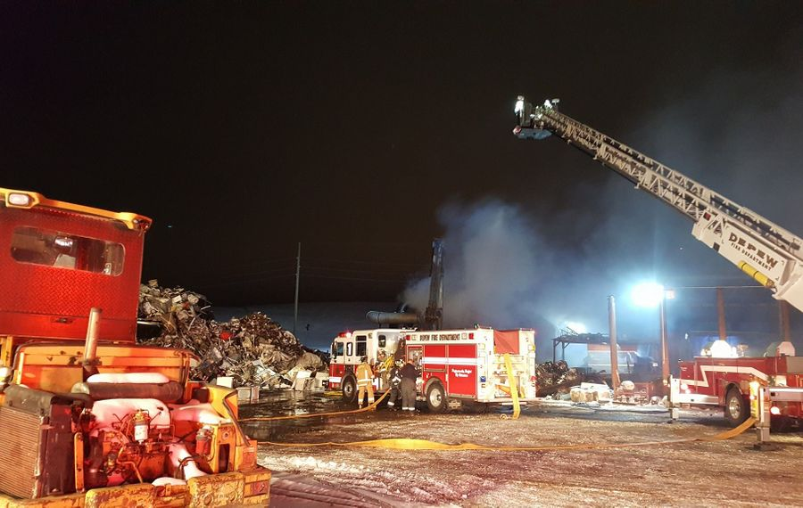 Depew firefighters were assisted by Airport fire crews at a fire Wednesday at Twin Village Recycling in Depew. The fire was declared under control at about 8 p.m. (Courtesy of the Depew Fire Department)