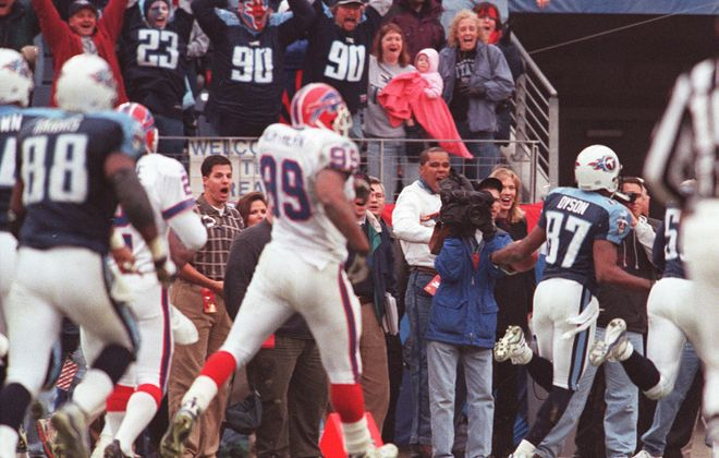 Titans fans celebrate as Kevin Dyson runs into the end zone to complete the Music City Miracle on Jan. 10, 2000. (News file photo)