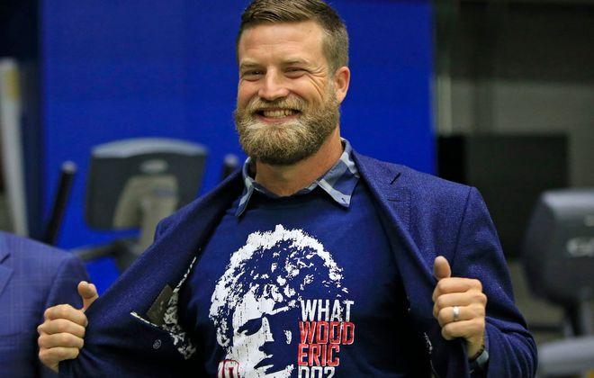 Ryan Fitzpatrick sports an Eric Wood shirt. (Harry Scull Jr./Buffalo News)