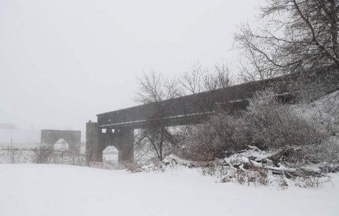 """This bridge would be the end of a proposed """"High Line"""" along the old DL&W railroad corridor that would begin downtown. (Sharon Cantillon/Buffalo News)"""