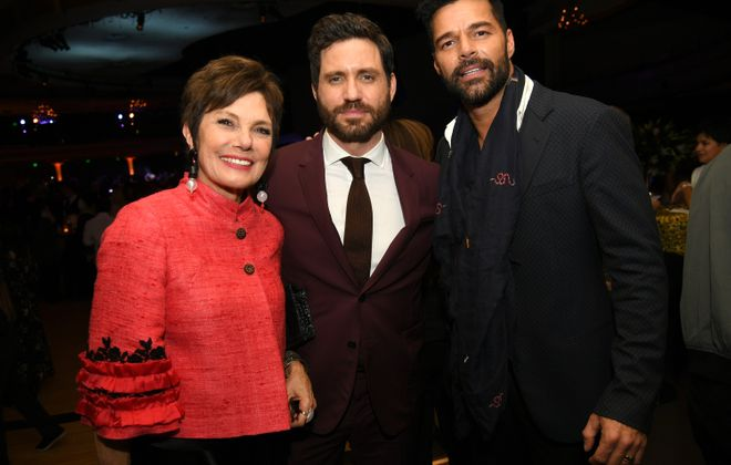 """Author Maureen Orth with actor Edgar Ramirez, who stars as Gianni Versace and Ricky Martin, who stars as Versace's partner, attend the Jan. 8  after-party for the premiere of FX's """"The Assassination Of Gianni Versace: American Crime Story"""" at the Hollywood Palladium in Los Angeles.   (Getty Images)"""