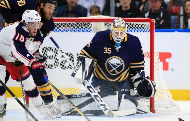 Linus Ullmark made a career-high 44 saves in Thursday's win. (Harry Scull Jr./Buffalo News)