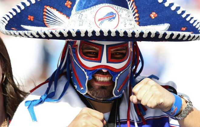 """Pancho Billa,"" at a Bills game in 2013 in Tampa Bay: Ezra Castro's journey with cancer intensifies how he feels about the Bills making the playoffs. (James P. McCoy/Buffalo News)"