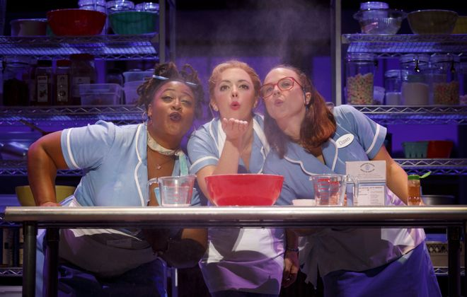 """Charity Angel Dawson, left, appears along with Desi Oakley and Lenne Klingaman in the touring version of """"Waitress."""""""