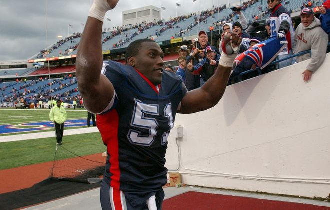 Former Bills linebacker Takeo Spikes loves what Sean McDermott has done this season - with one exception. (James P. McCoy/Buffalo News file photo)