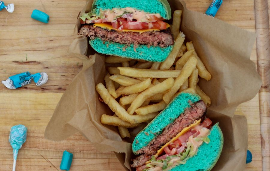 A sampling of the teal-colored food to be offered at the Jaguars-Bills game (Delaware North photo)