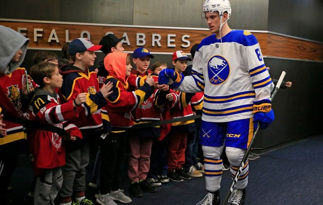 Defenseman Casey Nelson and the Sabres will wear their Winter Classic uniforms Monday. (Harry Scull Jr./Buffalo News)