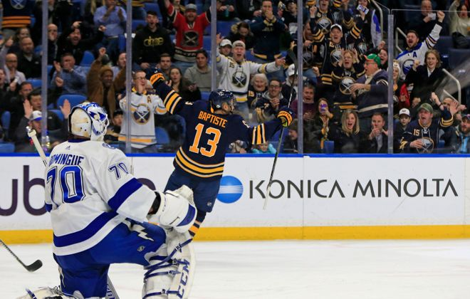 """Sabres forward Nick Baptiste will be scratched Saturday after taking a """"step back"""" last game, coach Phil Housley said. (Harry Scull Jr./Buffalo News)"""