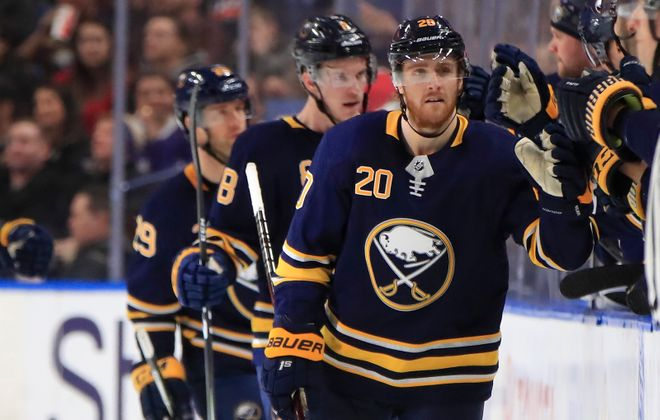 Scott Wilson has been making his share of celebratory stops at the Sabres' bench. (Harry Scull Jr./News file photo)