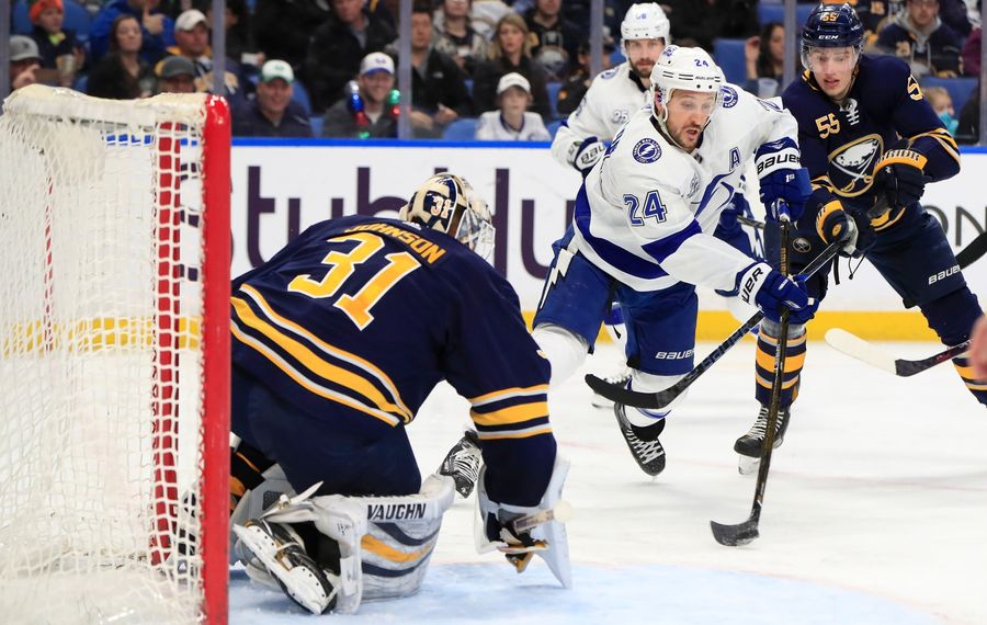 Sabres goaltender Chad Johnson will get another chance to stop Ryan Callahan and Tampa Bay. (Harry Scull Jr./Buffalo News)