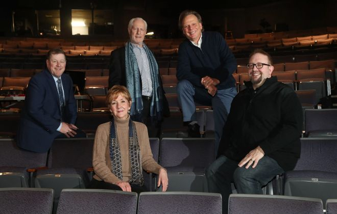 "The five producers collaborating on ""The Three Musketeers,"" from left, are Michael Murphy of Shea's, Meg Quinn of the  Theatre of Youth, Vincent O'Neill of Irish Classical Theatre,  Randy Kramer of MusicalFare and Scott Behrend of Road Less Traveled Productions.  (Sharon Cantillon/Buffalo News)"