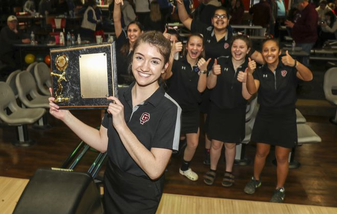 Paige Bartosz and her Orchard Park teammates will vie for a state bowling title this weekend. (James P. McCoy / Buffalo News)