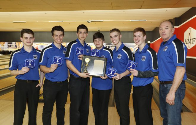 Here are members from the Section VI Division I champion Frontier Falcons, from left: Matthew Christiano, tournament champion Brandon Badaszewski, Jacob Swinarski, Jacob Spino, Derek Host, Connor Gates, and coach John Cordier. (Mark Mulville/Buffalo News)