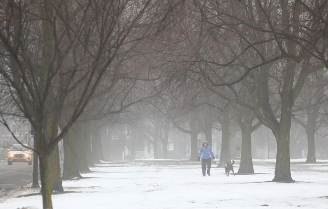 Amy Licata plays fetch with her dog Bia, on Bidwell Parkway , as fog covered Buffalo, N.Y., on Thursday, Feb. 15, 2018.  (John Hickey/Buffalo News)