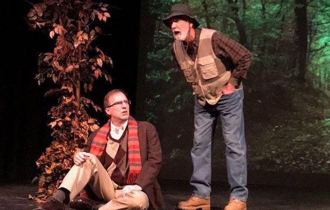 """Dave Hayes, left, appears with Tom Owen in the Alleyway Theatre's production of """"Beginning Again."""""""