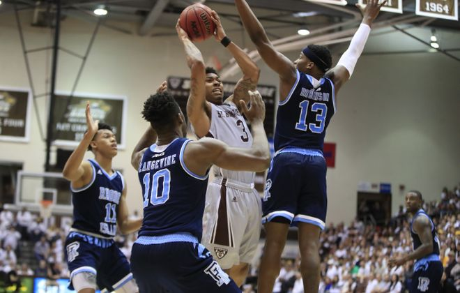 St. Bonaventure's Jaylen Adams drives to the basket against Rhode Island during first half action at the Reilly Center on Friday, Feb. 16, 2018. (Harry Scull Jr./ Buffalo News)
