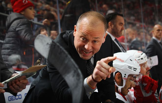 Detroit coach Jeff Blashill didn't get a goalie interference call he thought his team deserved against the Sabres (Getty Images).