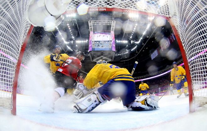 Henrik Lundqvist of Sweden tends goal against Canada during the Men's Ice Hockey Gold Medal game in Sochi, Russia. (Getty Images)
