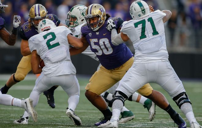 Washington's Vita Vea (50) is an elite run-stopping NFL draft prospect. (Getty Images)