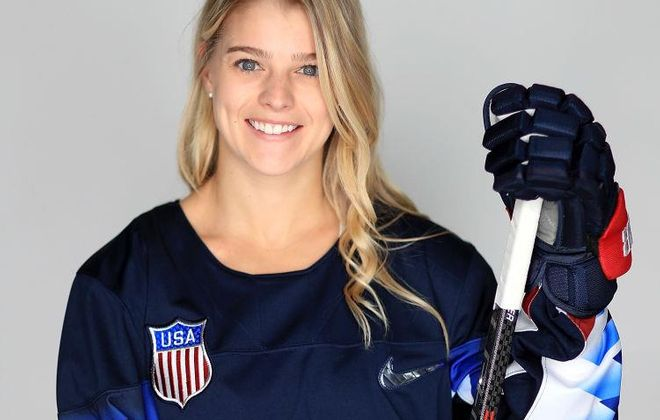 Emily Pfalzer returns to the Buffalo Beauts with an Olympic gold.  (Getty Images)