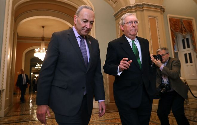 After several days of negotiations, Senate Minority Leader Charles E. Schumer and Senate Majority Leader Mitch McConnell agreed on a $2 trillion emergency relief bill. (Getty Images)