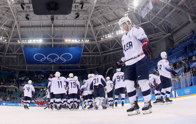 Brian O'Neill of the United States reacts after the quarterfinal loss (Ronald Martinez/Getty Images)