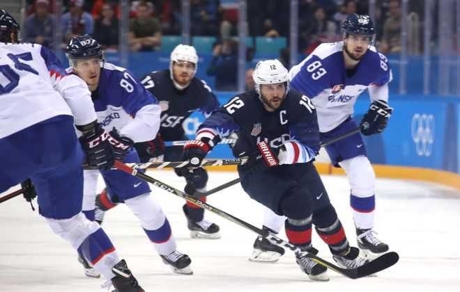 Brian Gionta (12) did not have a point for Team USA during the Olympics (Getty Images).