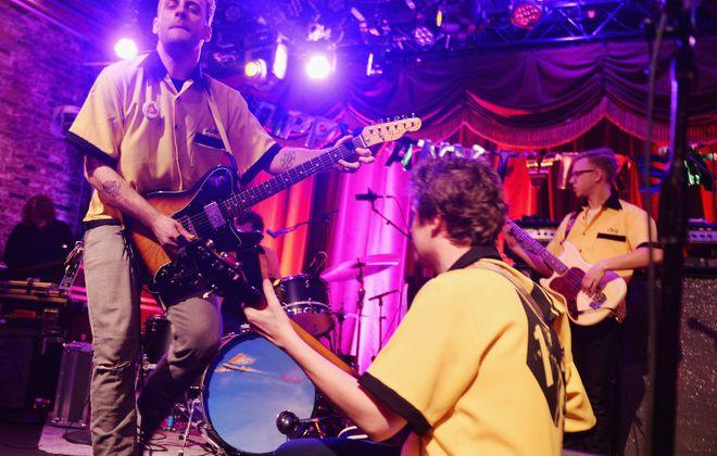 Singer John McCauley, Ian O'Neil, Chris Ryan of Deer Tick perform on New Year's Eve 2015. (Stephen Lovekin/Getty Images)