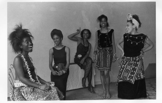 "Lorna Simpson's 1986 photograph ""Rodeo California"" is part of the Albright-Knox Art Gallery exhibition ""We Wanted a Revolution."" From left, are, Alva Rogers, Sandye Wilson, Candace Hamilton, Derin Young and Lisa Jones. (Photo courtesy of the artist and Hauser & Wirth)"