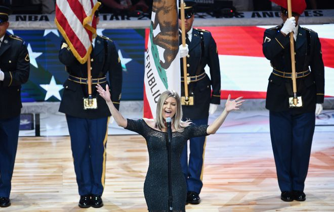 """Jeff Miers says that Fergie butchering the national anthem is really a case of """"no harm, no foul."""" (Allen Berezovsky/Getty Images)"""
