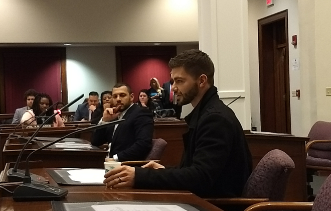 "Bojidar ""Bobby"" Kandar spoke before the Erie County Legislature to recount his negative experience with gay conversion therapy. (Sandra Tan/Buffalo News)"