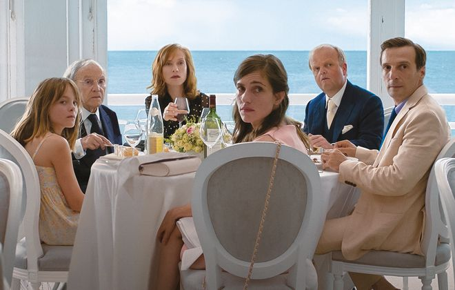 "Fantine Harduin left, Jean-Louis Trintignant,  Isabelle Huppert, Laura Verlinden, Toby Jones and Mathieu Kassovitz star in ""Happy End."" (Films du Losange, Courtesy of Sony Pictures Classics)"