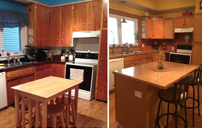 The kitchen and dining area, from past to present. (via Maria Tarapacki)