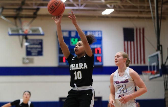 Senior Nickelle O'Neil was a force on both ends of the floor in Cardinal O'Hara's girls basketball win at Williamsville South Saturday afternoon. (Harry Scull Jr./Buffalo News)