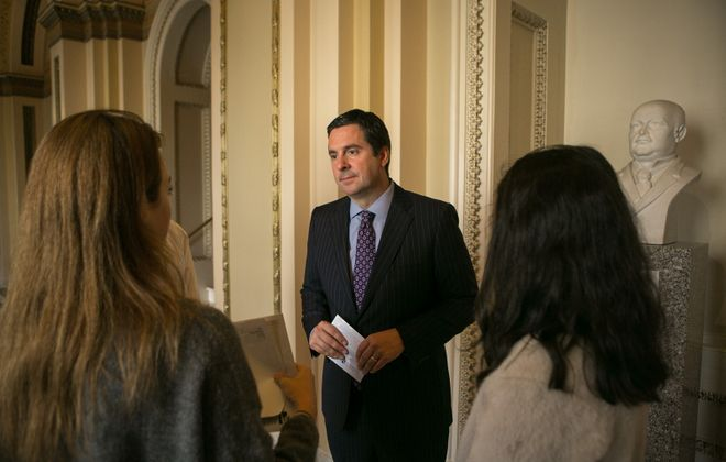 Rep. Devin Nunes (R-Calif.) talks to students earlier this month outside the House Chambers on Capitol Hill in Washington. (Lawrence Jackson/The New York Times)
