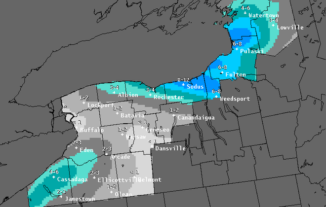 Lake-effect snowfall is expected to set up as frigid air locks itself in place across the Buffalo Niagara region. (National Weather Service)