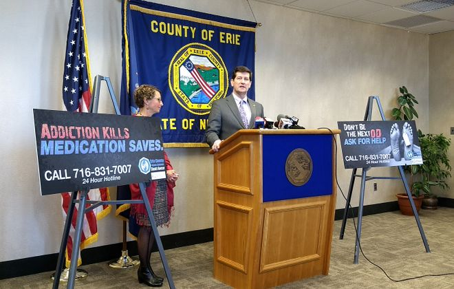 Erie County Executive Mark Poloncarz and Health Commissioner Dr. Gale Burstein announce steps being taken to address measles exposure. (File photo)