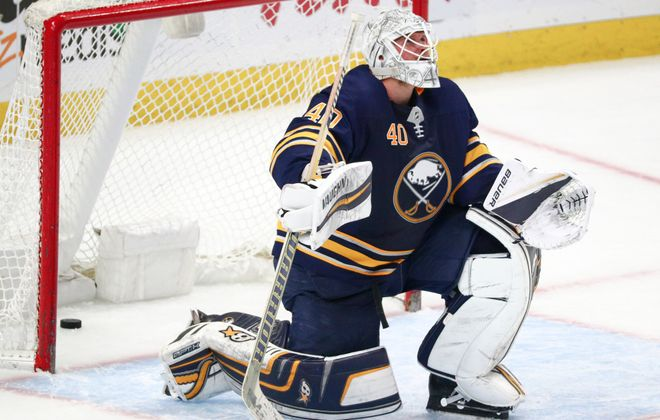 A frustrated Robin Lehner ponders his fate after Carl Gunnarsson beat him for the game's only goal with 5:41 to play (James P. McCoy/Buffalo News).