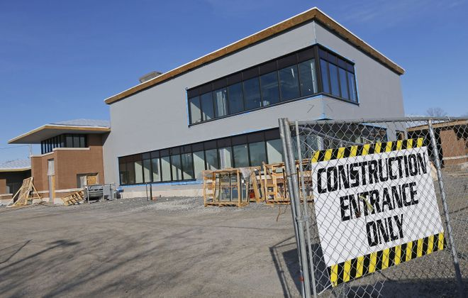 West Seneca's new library/community center under construction next to West Seneca Town Hall on Union Road. (Robert Kirkham/Buffalo News)