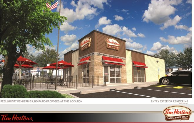 A rendering of a proposed Tim Hortons Cafe & Bake Shop at 2200 South Park Ave.