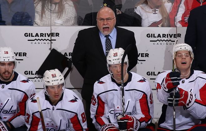 Washington's Barry Trotz joined Scotty Bowman, Al Arbour, Joel Quenneville and Ken Hitchcock as the only men to coach 1,500 game when he led the Capitals against the Blackhawks Saturday night. He entered that game fifth on the all-time win list with 746 (Getty Images).