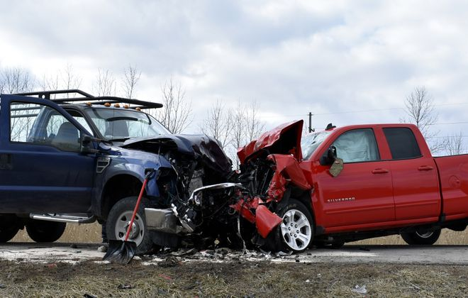 Three people were injured in this head-on crash Sunday afternoon. (Larry Kensinger/Special to The News)