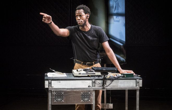 """Eric Berryman stars in the Wooster Group's production of """"The B-Side,"""" a theatrical adaptation of Bruce Jackson's 1965 album of black work songs and spirituals. (Photo by Bruce Jackson)"""
